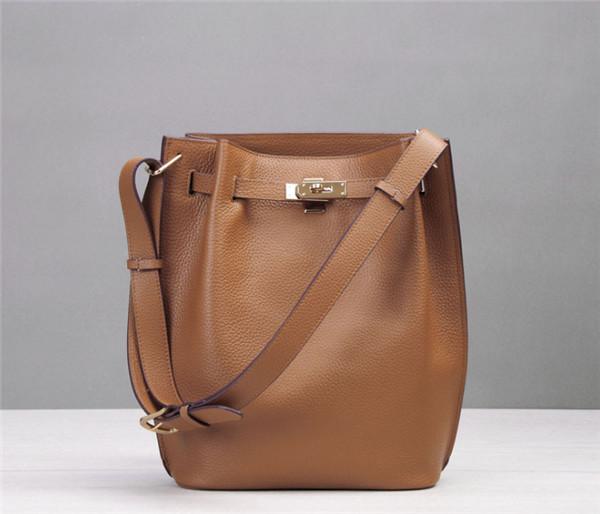 High Quality Designer Bag Tan Leather Bucket Bag