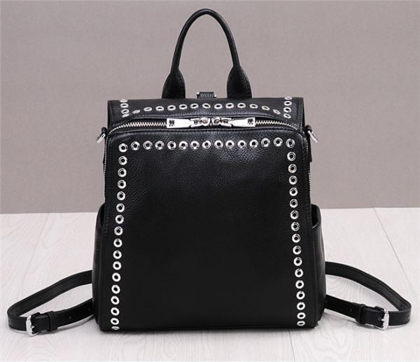 High Quality Fashion Rivet Backpacks And Crossbody Bag Black Cowhide Leather