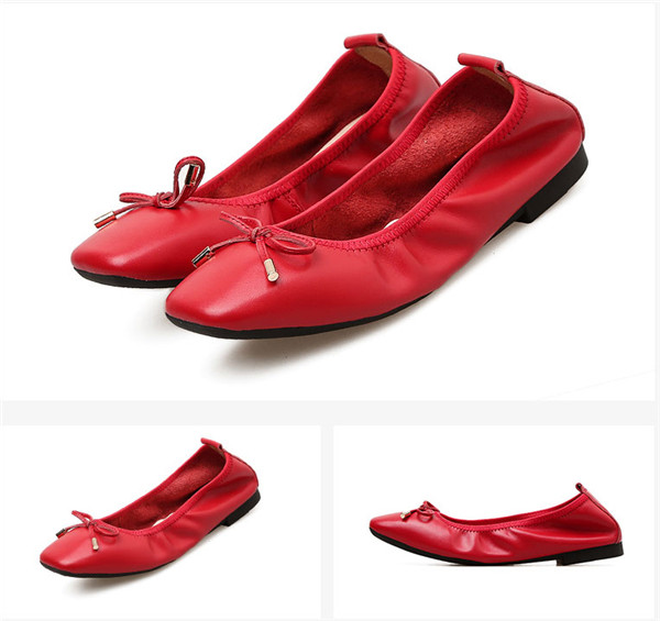 Nice Quality Red Calfskin Dress Shoes Ladies Brand Designer Flat Shoes