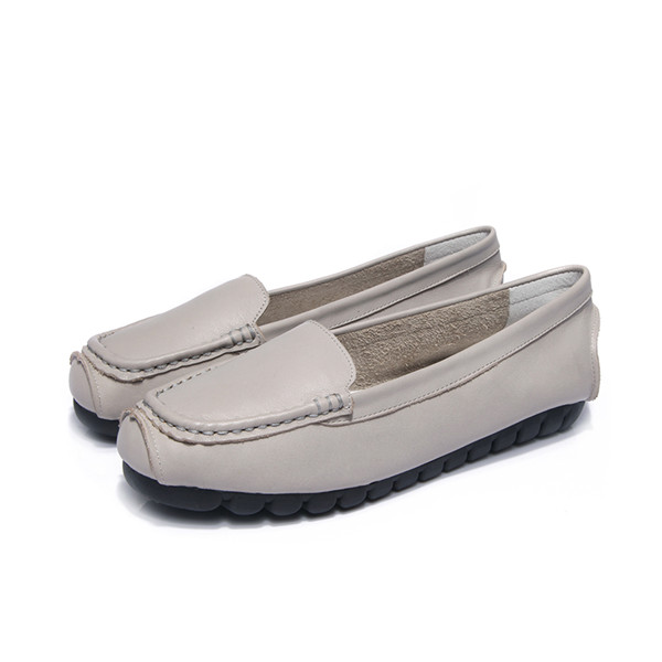 OEM High Quality Grey Cowhide Leather Slip-On Loafers For Lady