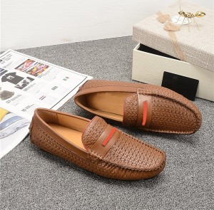 OEM Tan Leather Loafers Men Braid Leather Shoes