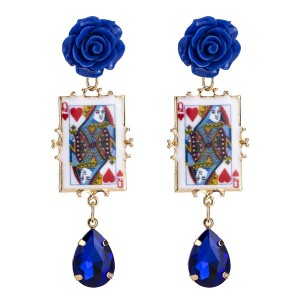 Wholesale Europe And The United States Bohemian Style Blue Resin Flower Women Poker Earrings Red Heart Q Earrings