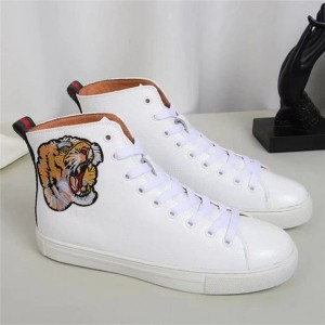 White Leather Women'S Sneaker Shoes With Tiger Embroidery