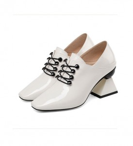 Women 7cm High Heel Shoes White Patent Leather Nice Italian Dress Shoes