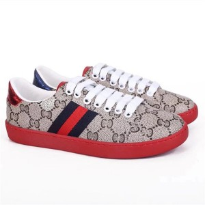 High-Grade Printed PVC Fabric Sneakers Red Outsole Shoes