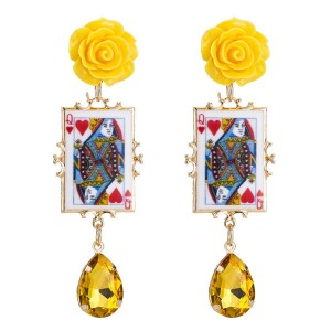 Wholesale Europe And The United States Trendy Women Yellow Resin Flower Poker Earrings Red Heart Q Earrings