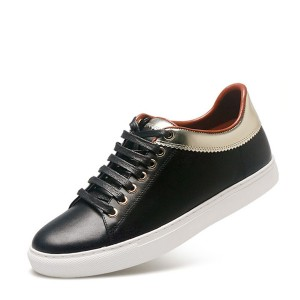 New Fashion Black Leather Brand Design Sneakers