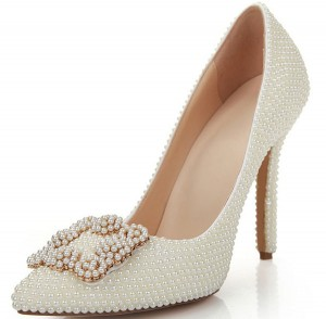 High Quality White Rhinestone Pointed Toe High Heel Shoes
