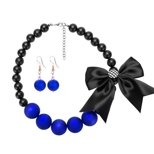 Most Popular Collarbone Chain Necklace Women Fashion Jewelry Set Silk Bow Pearl Neckwear