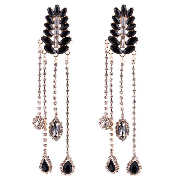 Black Multi-Layer Glass Rhinestone Earring Women Fashion Long Earring Bohemian Earrings Supplier