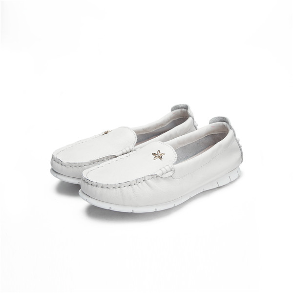 OEM Ladies Pure White Leather Slip-On Soft Sole Flat Shoes