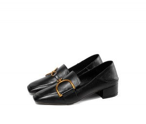 Black Leather Female Low Heel Dress Shoes Stylish