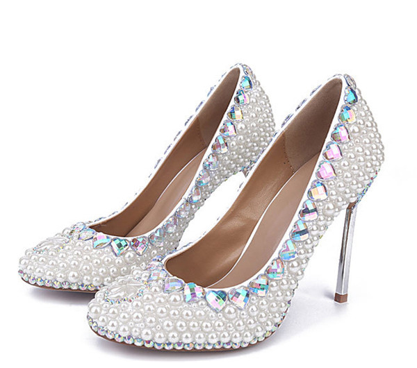 10cm High Heel Sequined Wedding Shoes With Crystal Rhinestone