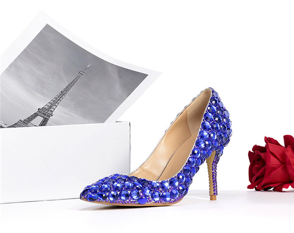 Blue Rhinestone Ladies Formal Shoes Featured Image