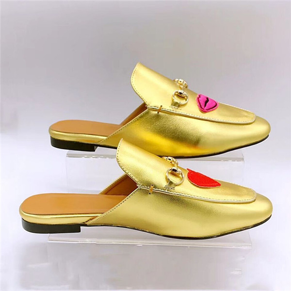 Famous Brand Patent Leather Shoes Gold-Plated Flat Half-Slippers Loafers 35 To 46