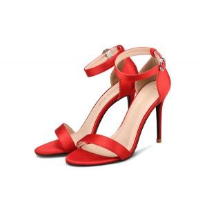 Lady Red Silk Satin ankle Strap Sandals Fine Heels