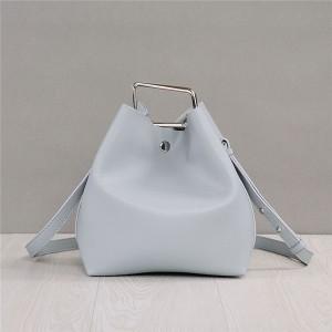 Wholesale Light Grey Cowskin Leather Designer Bags Women'S Branded Bucket Bag