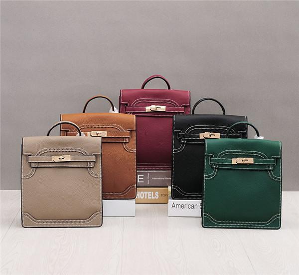 OEM Made Top Layer Cowhide Luxury Bags Designer Kelly Women Handbags Can Wear As Backpacks