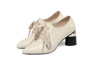 White Leather Pointed Toe Lace-Up Big Sole Shoes Women