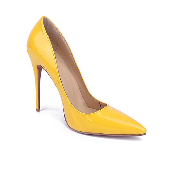 10cm Stiletto Yellow Cow Skin Women Exquisite Shoes