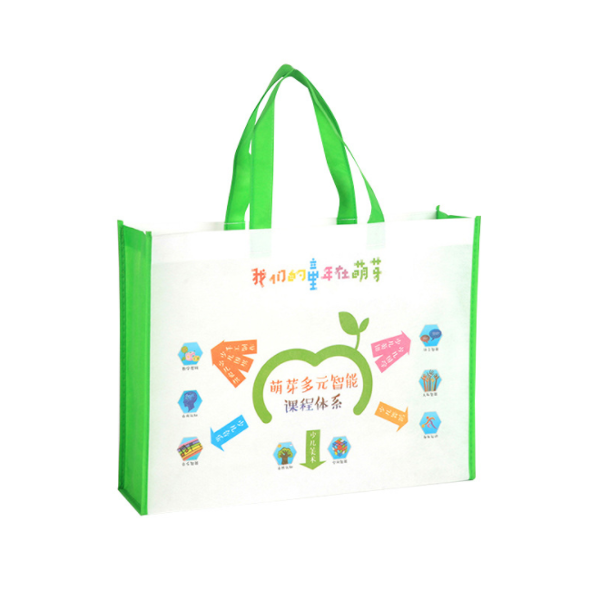Attractive design  white green non woven recycled shopping tote bag