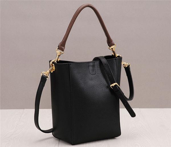 High Quality Black Cowhide Leather Bucket Bag For Woman Shoulder Bag