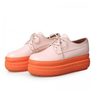 Lace-Up Women Platform Shoes Sneakers With Orange Bottom Sole