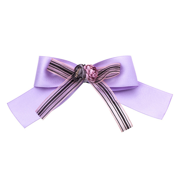 Nice Quality Famous Brand Ribbon Floral Grosgrain Ribbon Corsage Purple Silk Bow Corsage