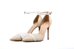 Best Seller Plus Size Shoes Women Nude Leather Fashion Shoes With Ankle Strap