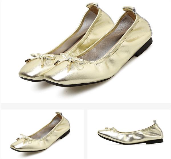 Golden Leather Shoes Women'S Foldable Ballet Shoes