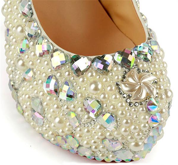 16cm Super High Heel  Colorful Sequin Pearl Crystal Diamond Platform Shoes