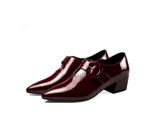 Dark Red Patent Leather Ladies Dress Shoes Pointed Shoes
