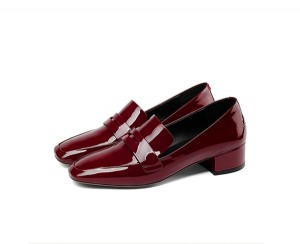 Wine Red Patent Leather Shoes Ladies Office Formal Shoes