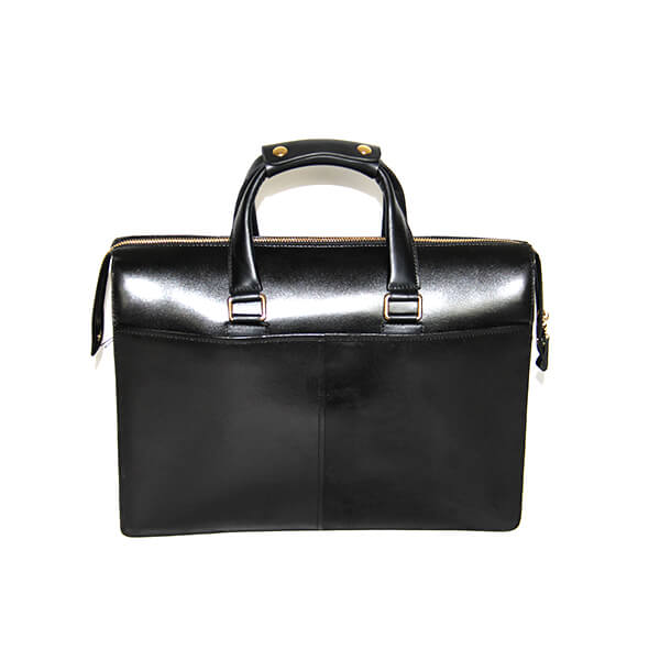Leather men's bag men's handbag business bag 15 inch computer bag briefcase double main bag black Featured Image