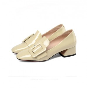 Women 4cm Low Heel Beige Patent Leather Fashion Shoes With Buckle