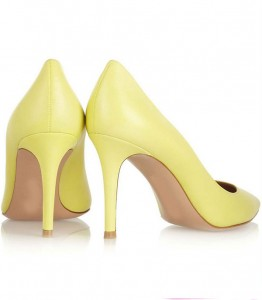 Yellow Leather Women Dress Shoes