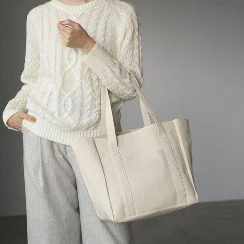 Bolso De Mano 100% Pure color cotton canvas lunch storage bag shopping tote canvas handbag