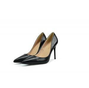 Black Microfiber Women Fine Heel Dress Shoes