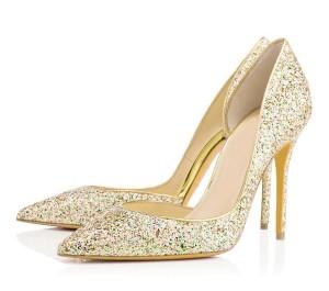 Gold Sequins Fine Heel Shoes