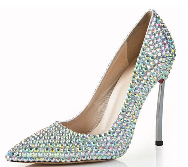 11cm Colorful Diamond Stiletto Bridal Shoes