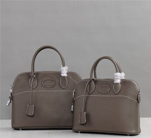 High Quality Handbag Personalized Bags Grey Totes Cowhide Leather