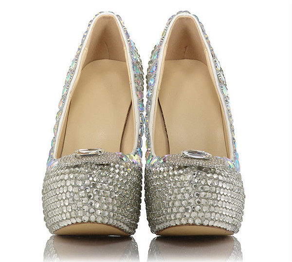 14cm Super High Heel Colorful Sequin Dress Shoes Ladies
