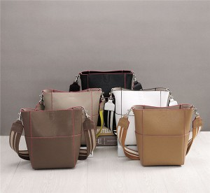 Custom Private Logo Cowhide Leather Handbags And Purses For Women Fashion Bucket Bag With Long Strap