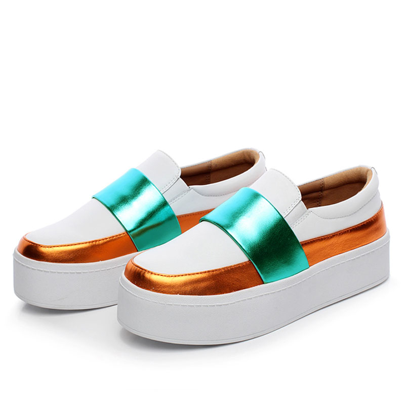 White Cowhide Women Platform Sneakers With White Bottom Sole Featured Image