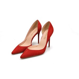 Red Suede Sexy Heeled Evening Dress Pumps