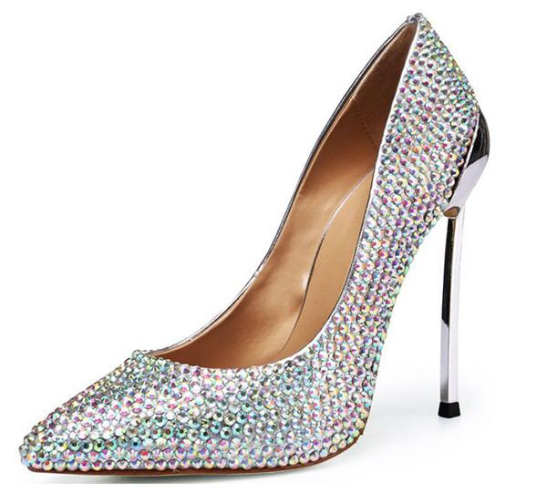 Women OEM Custom Crystal Heel Pumps