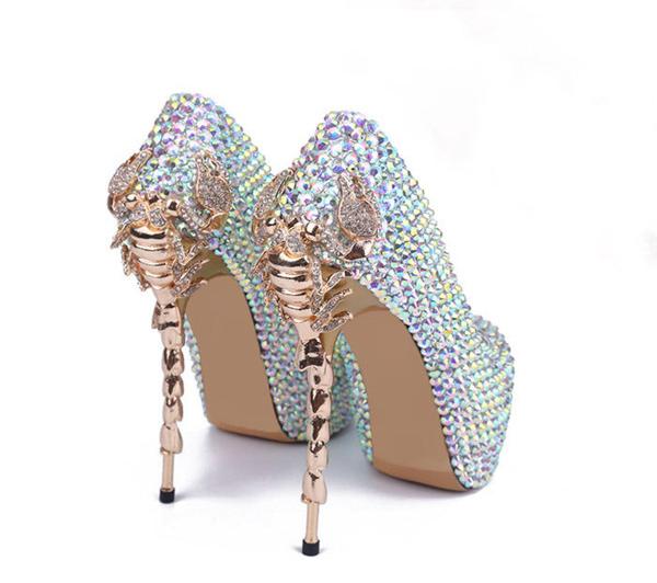 15cm Golden Metal Heel Platform Shoes Pumps Women