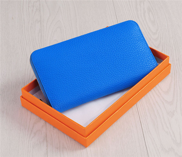 Wholesale Sky Blue Cowhide Zipper Purse For Women Designer Purse