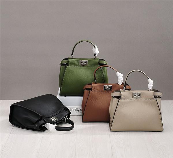 Western Style Brand High Quality Handbag Women Luxury Handbag Green Cowskin