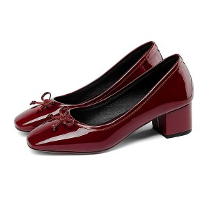 5cm Low Heel Wine Red Genuine Leather Professional Shoes